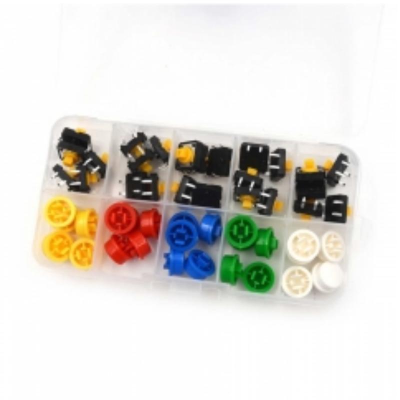 Lote 25 pulsadores 12x12x7 mm de 4 pines con botón colores