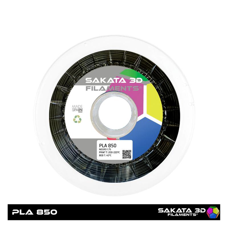 PLA Sakata 850 Black. Filamento 3D 1.75 mm. 1Kg.