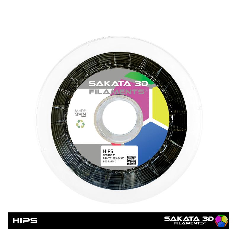 HIPS Sakata Black Filamento 3D 1.75 mm. 1Kg.